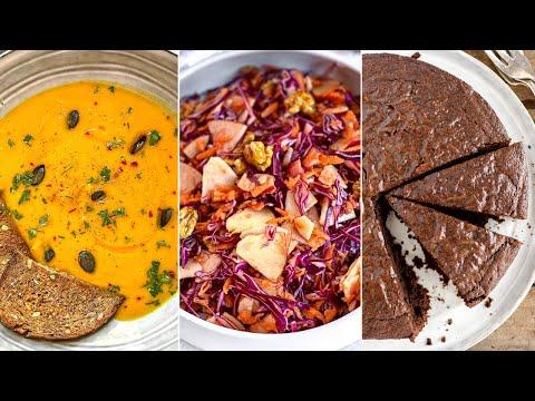 VEGAN DINNER 007 | Easy chocolate brownie cake | Roasted butternut squash soup | Candied walnut slaw