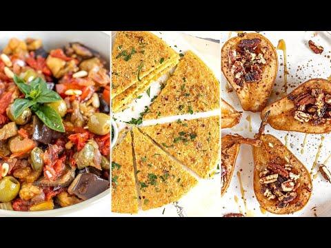 VEGAN DINNER 005: Eggplant caponata | Chickpea farinata | Baked pears with cinnamon and maple syrup