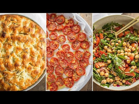 """VEGAN DINNER 004 """"slow-cook""""   Rosemary focaccia no knead   Tomatoes confit   Chickpea salad"""
