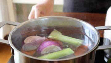 making the vegetable stock