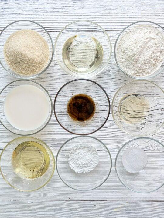 Ingredients for vanilla cake