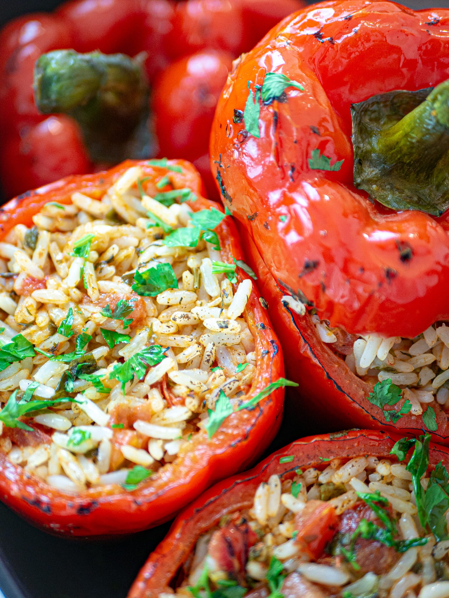 VEGAN STUFFED RED PEPPERS WITH RICE CLOSE UP