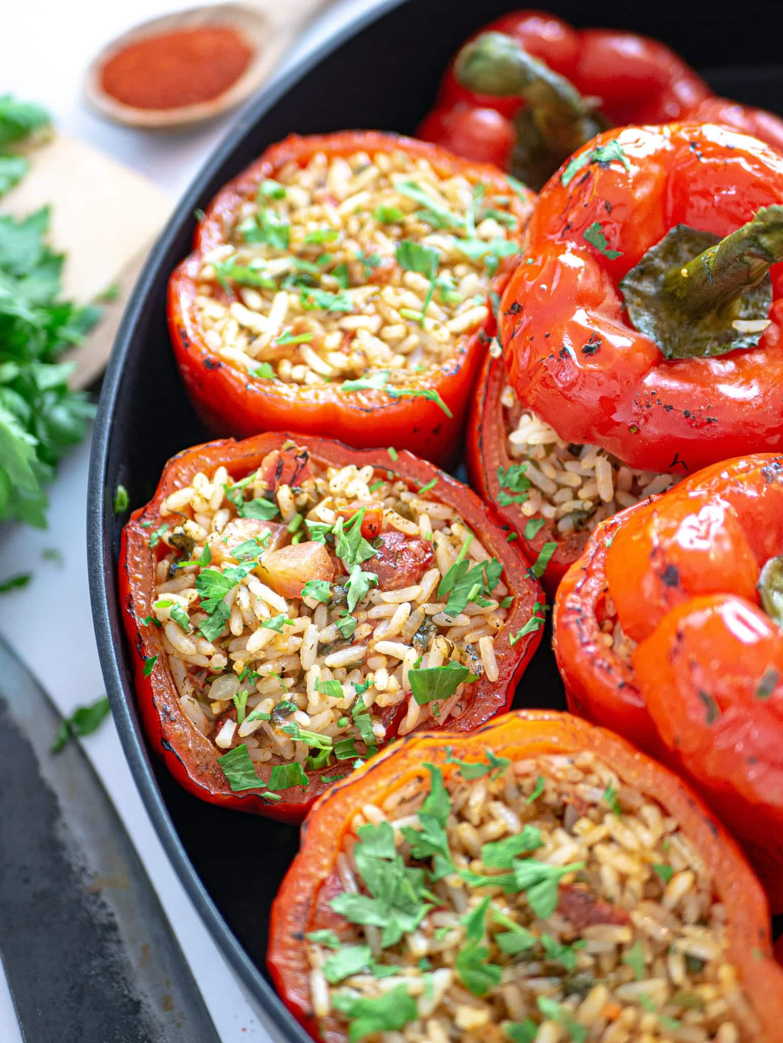 VEGAN STUFFED BELL PEPPERS WITH RICE FRONT