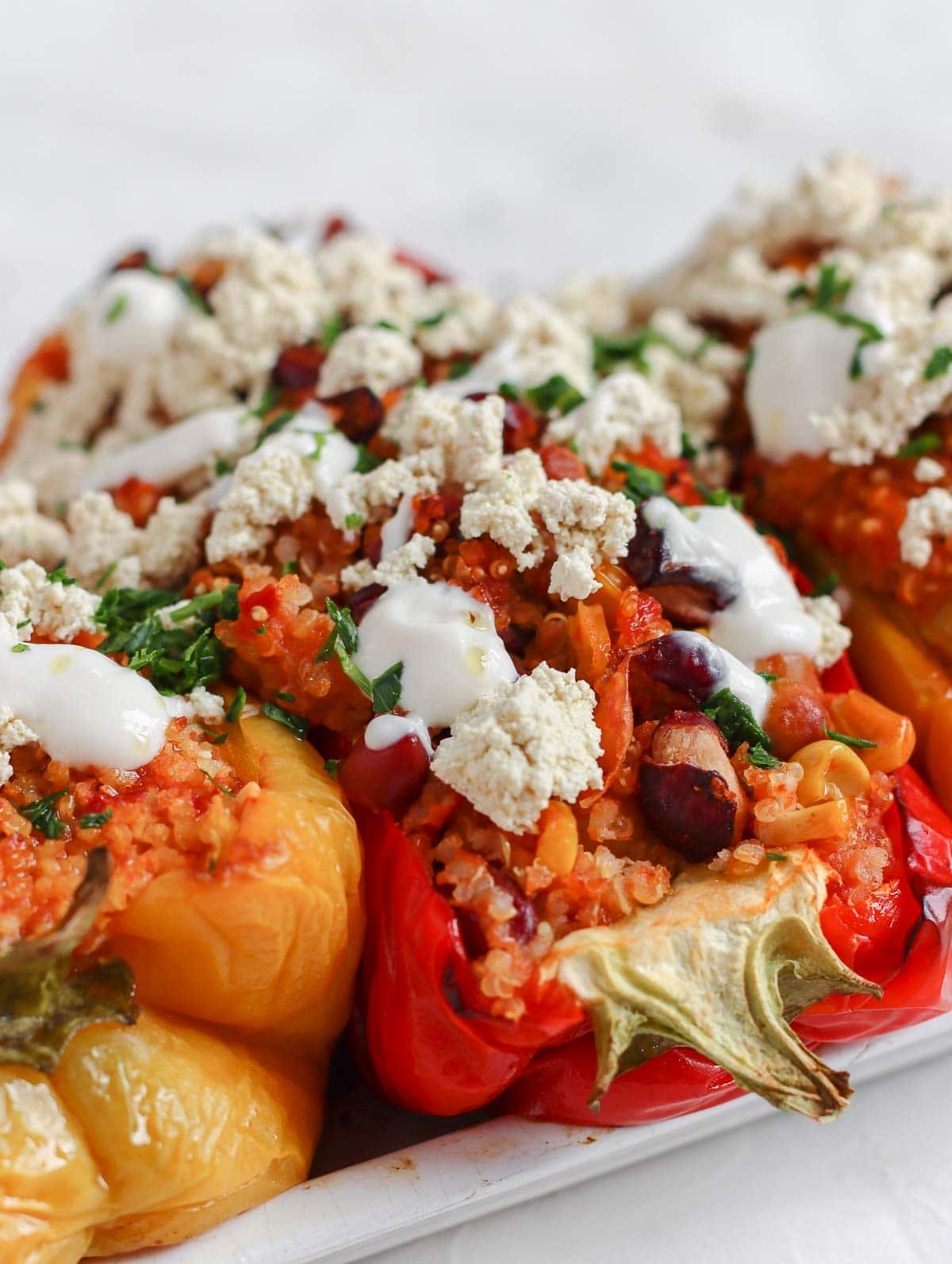 quinoa and beans stuffed peppers