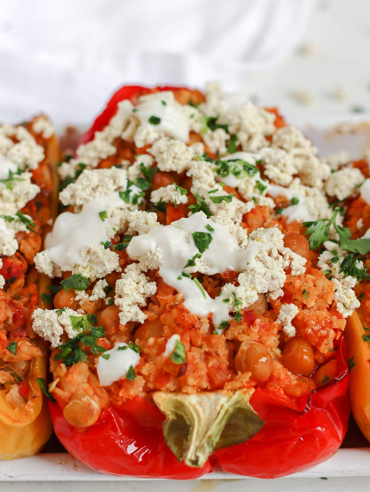 red pepper stuffed with millet and tempeh