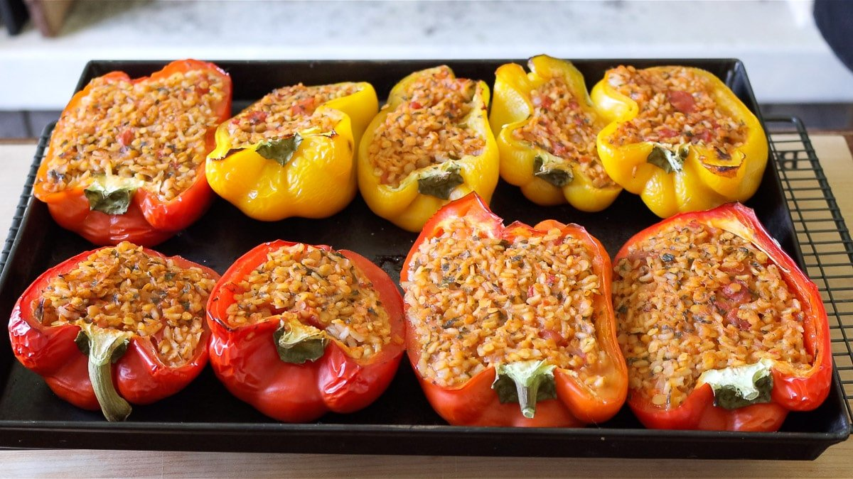 just baked stuffed peppers