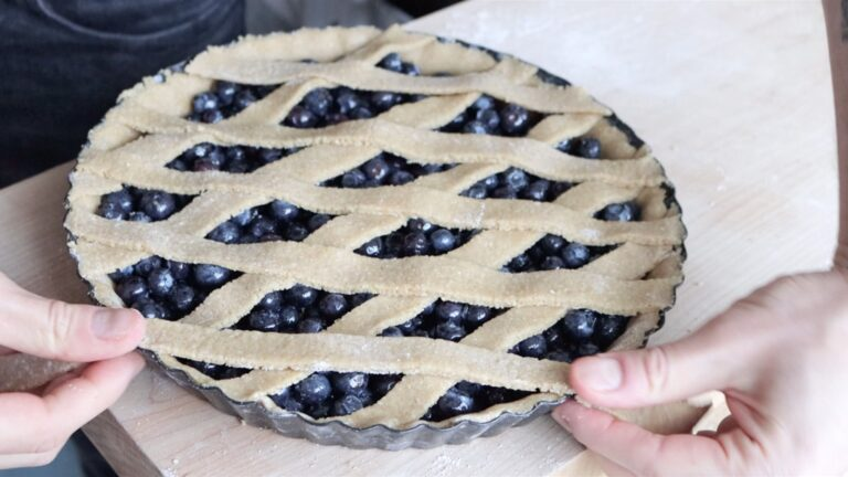 cover the crostata with dough strips