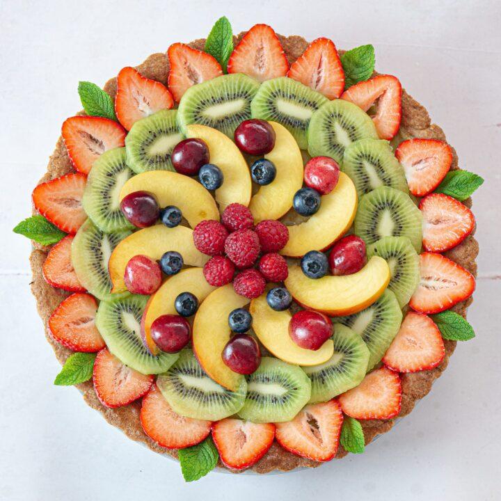 foto quadrata della crostata di frutta