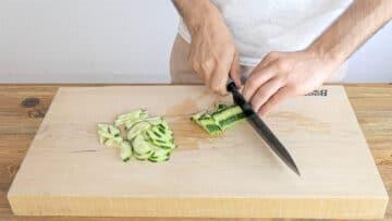 Slicing the cucumber