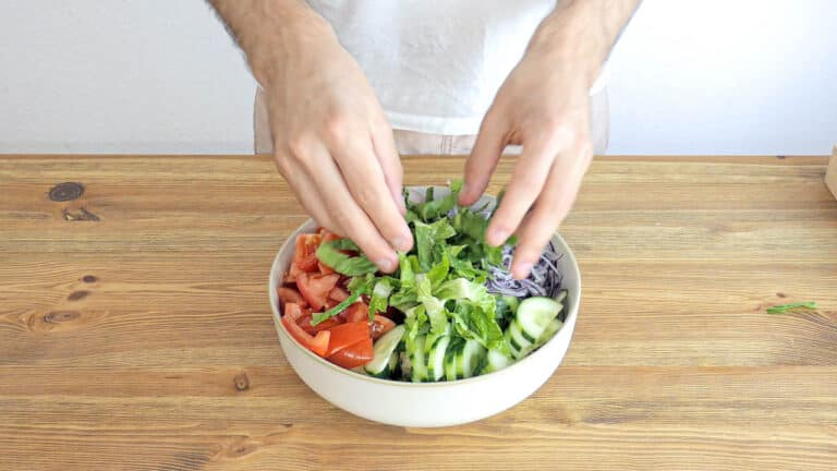 Mixing all ingredients together in a bowl