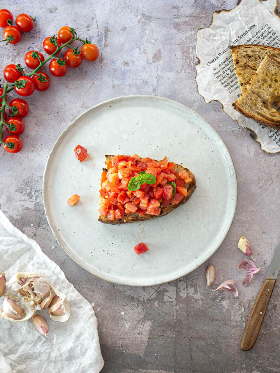 Bruschetta with tomatoes and basil on sourdough bread