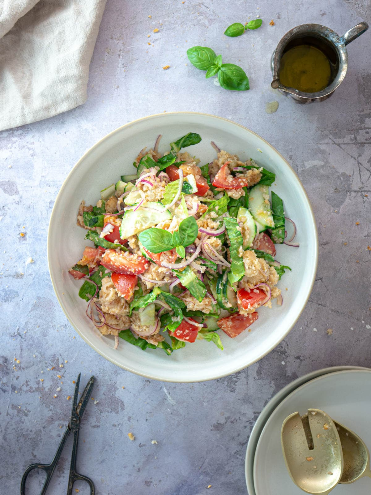 Traditional panzanella salad served in a bowl