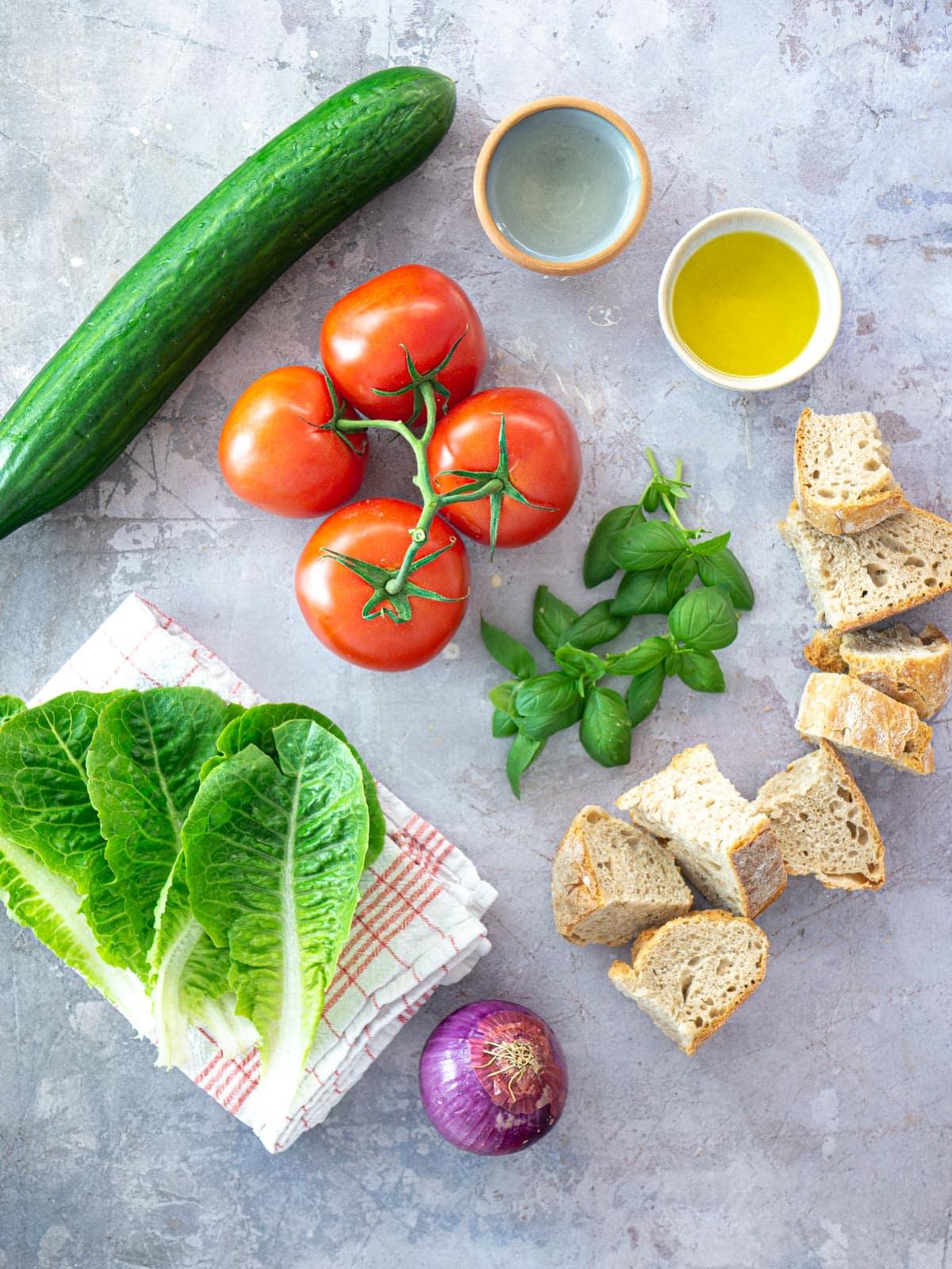 Ingredients for vegan panzanella salad