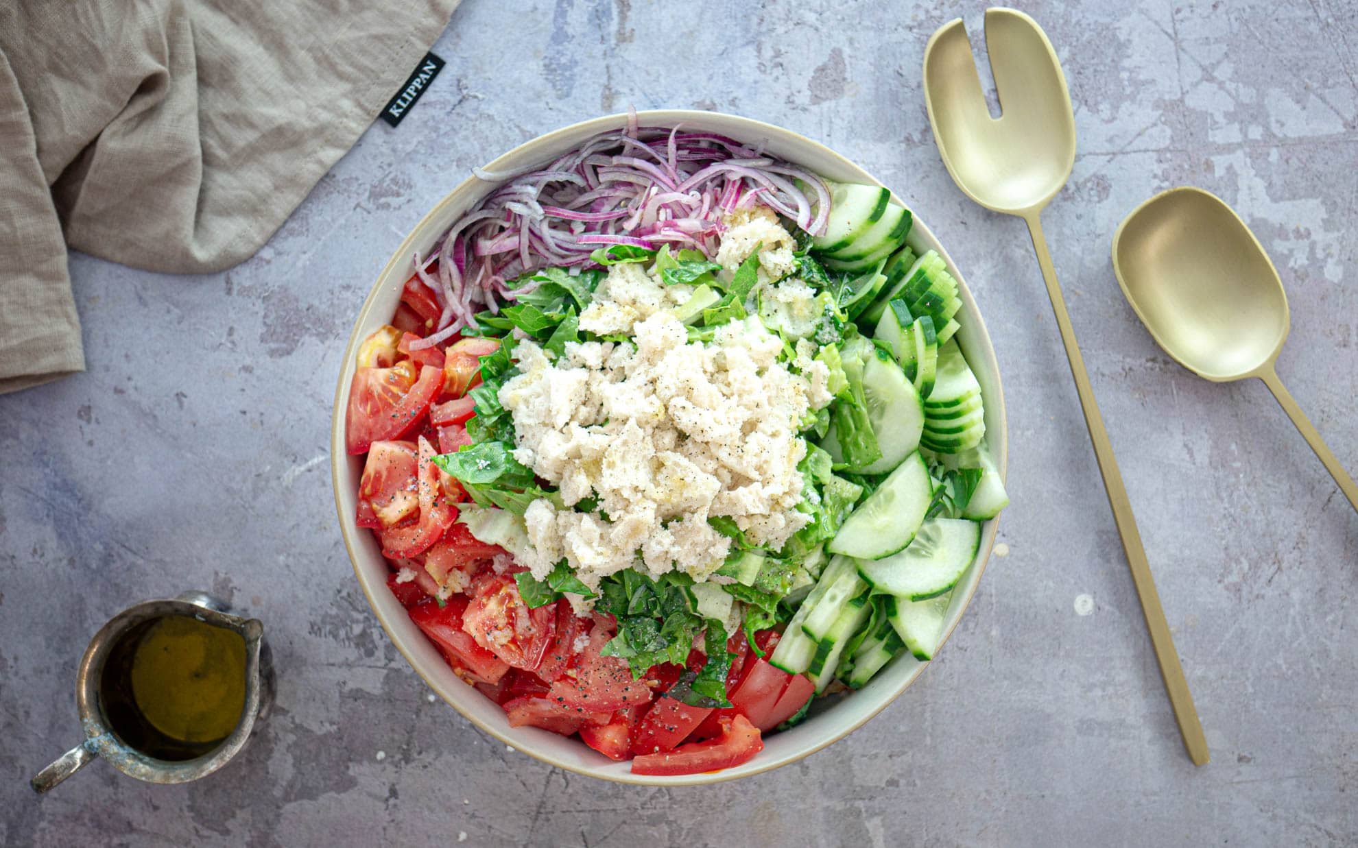 Panzanella in a bowl before mixing horizontal-2