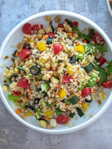 Wide vegan rice salad italian style