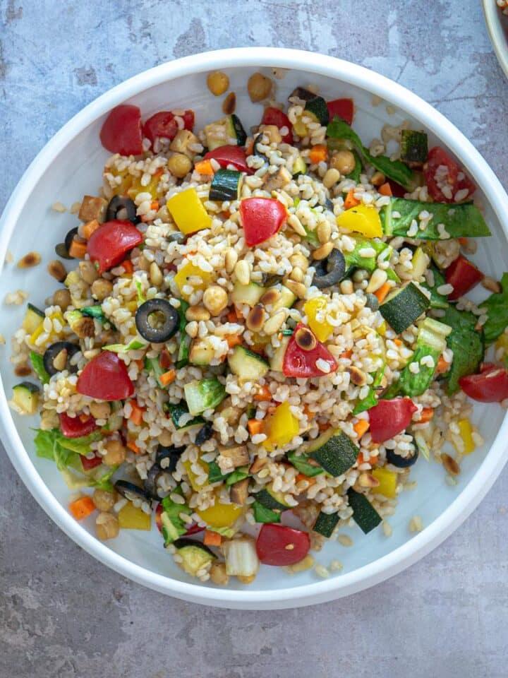 Wide vegan rice salad italian style