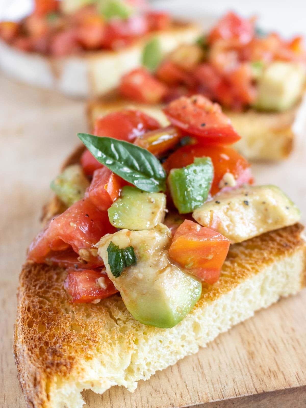 tomato bruschetta with avocado