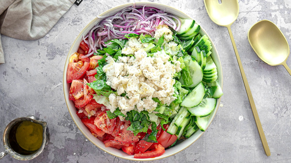 ingredients for panzanella in a bowl