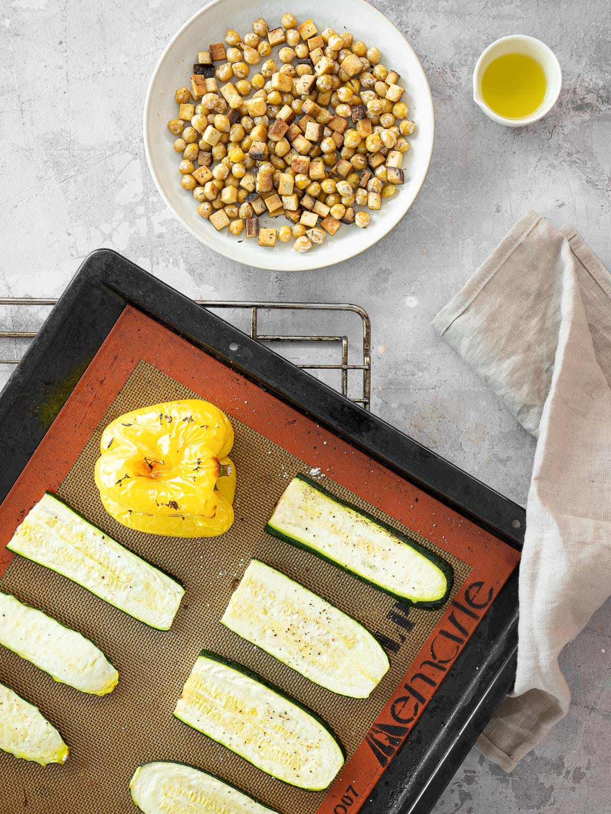 grilled vegetables and chickpea