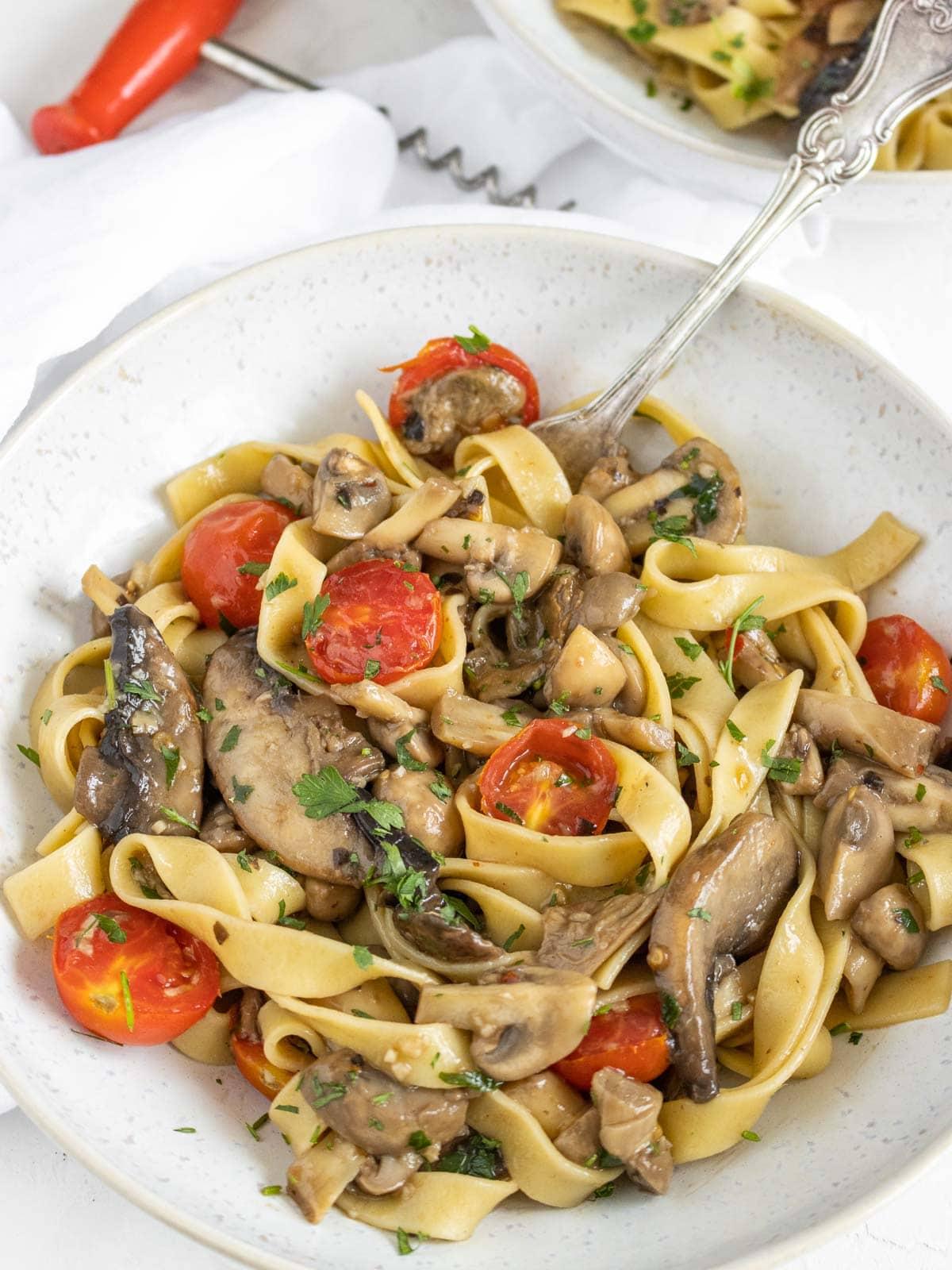vegan mushroom pasta in a plate