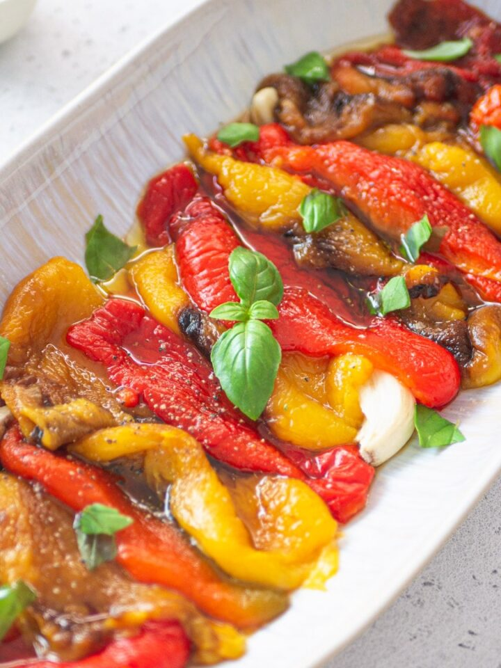 Italian oven-roasted yellow and red bell peppers