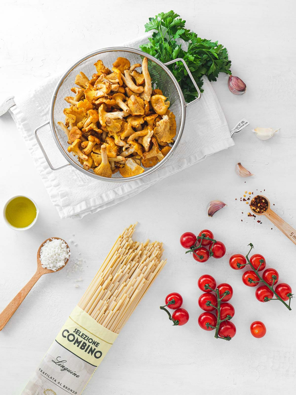ingredients for pasta and chanterelles