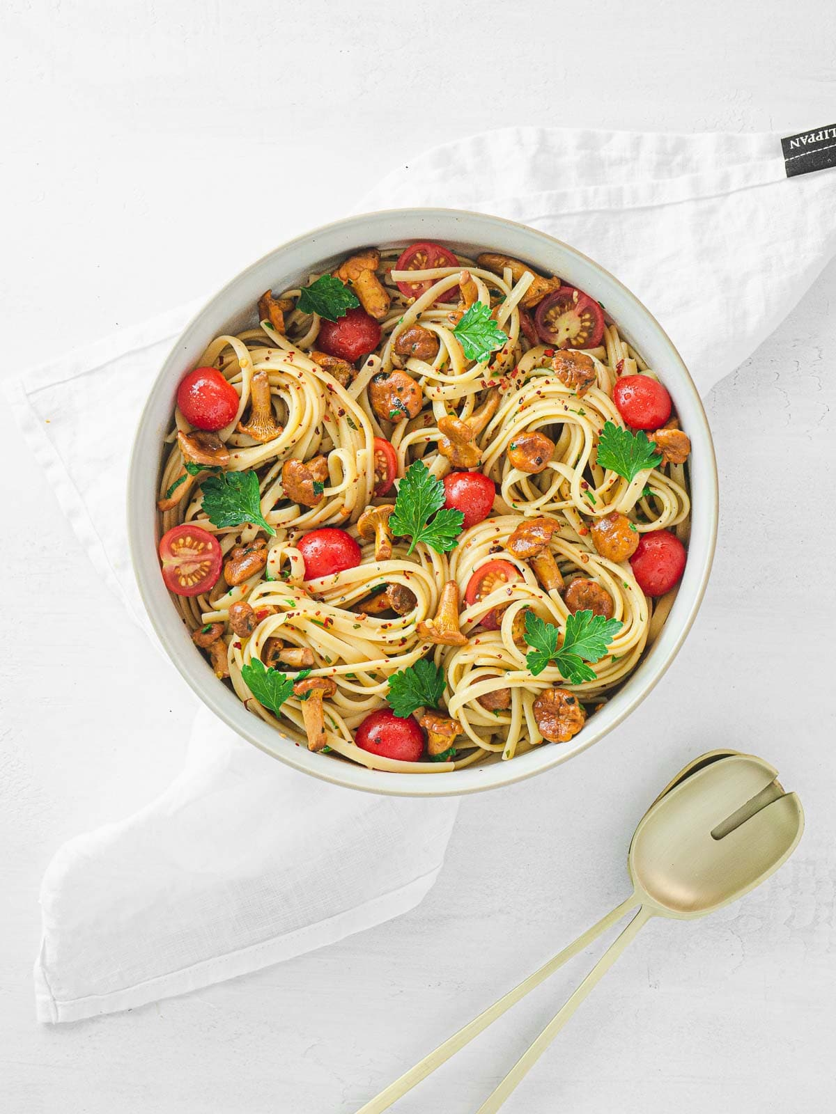 bowl with pasta and mushrooms