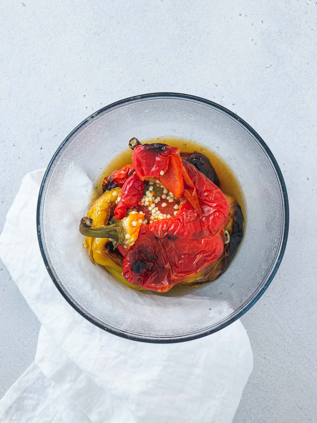 roasted bell peppers in a bowl