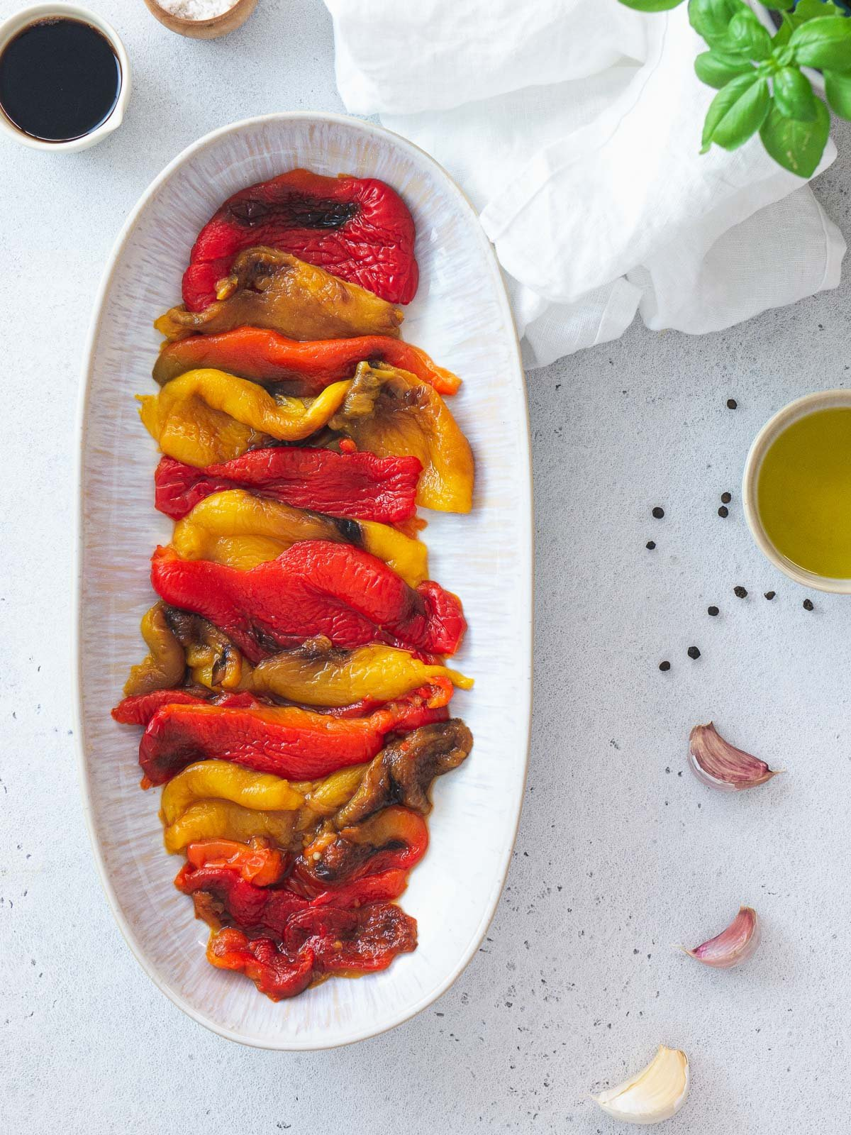 serving the peppers on a  plate