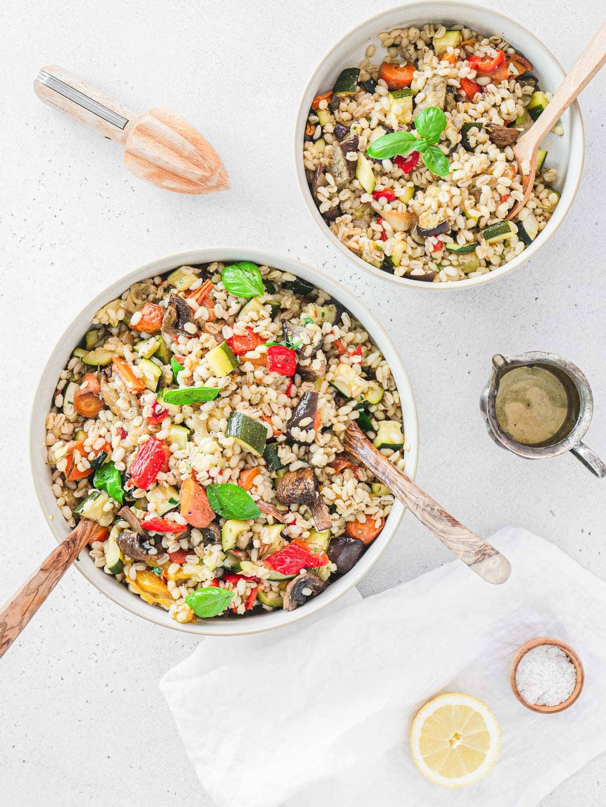 vegan barley salad in a bowl