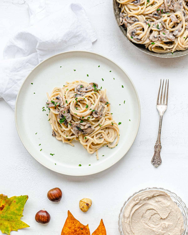 cremosi spaghetti con pesto di castagne