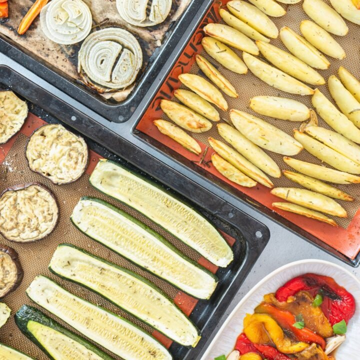 Roasted potatoes, zucchini, sweet potatoes, onions and mushrooms