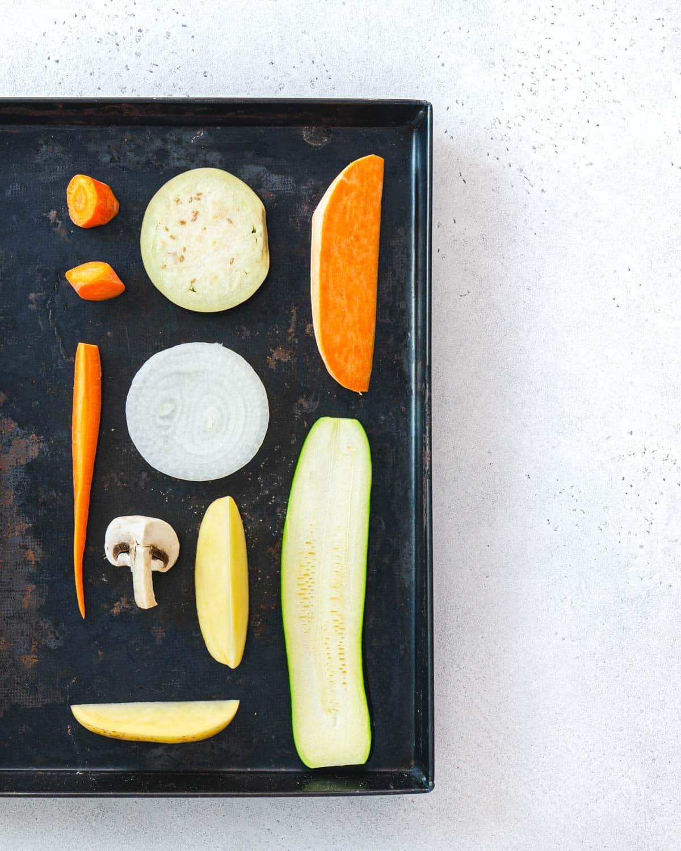 Ingredienti per le verdure miste al forno