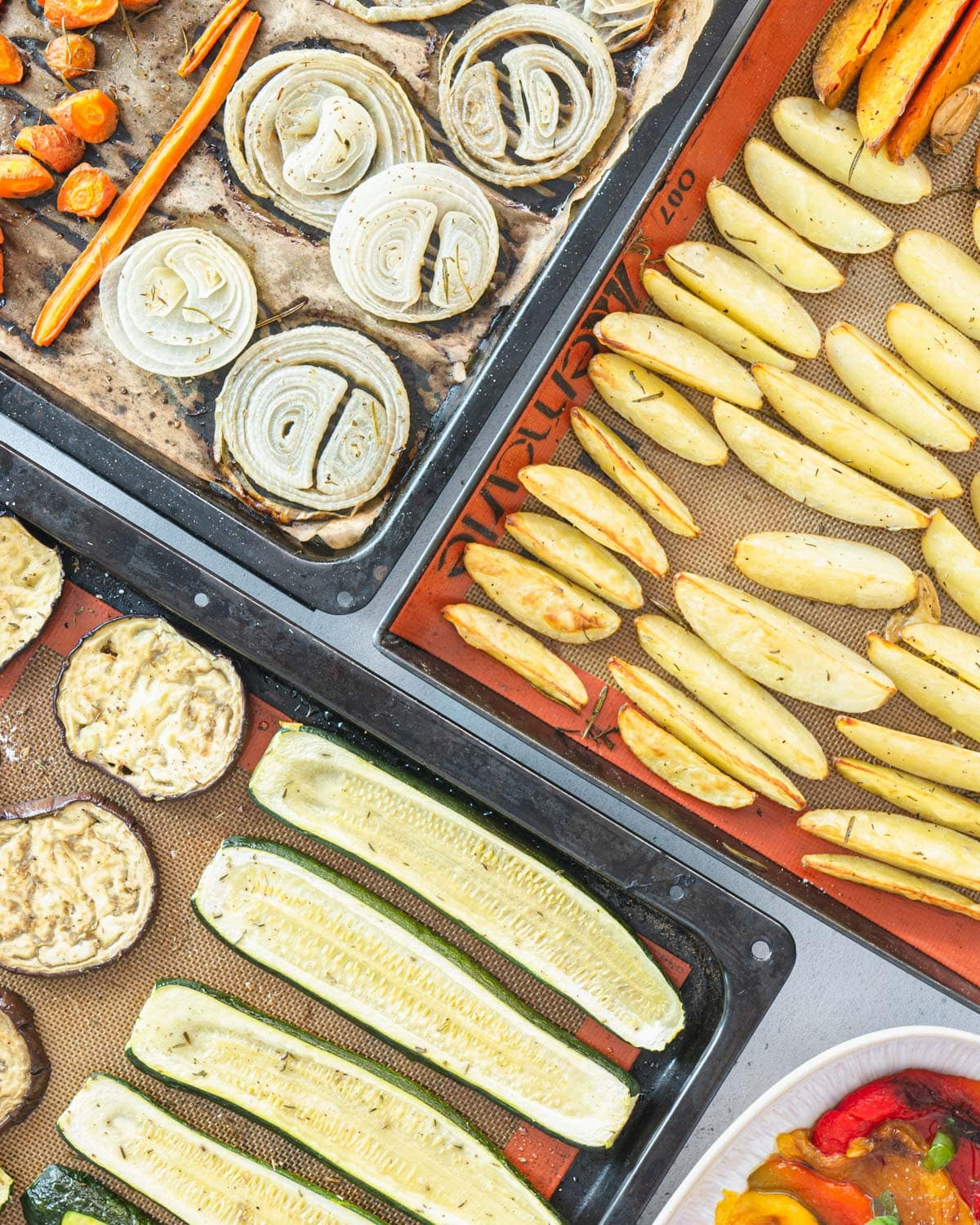 Italian style roasted vegetables with olive oil and rosemary