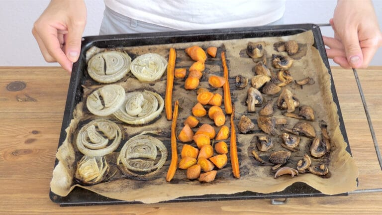 baked onions, carrots, and mushrooms