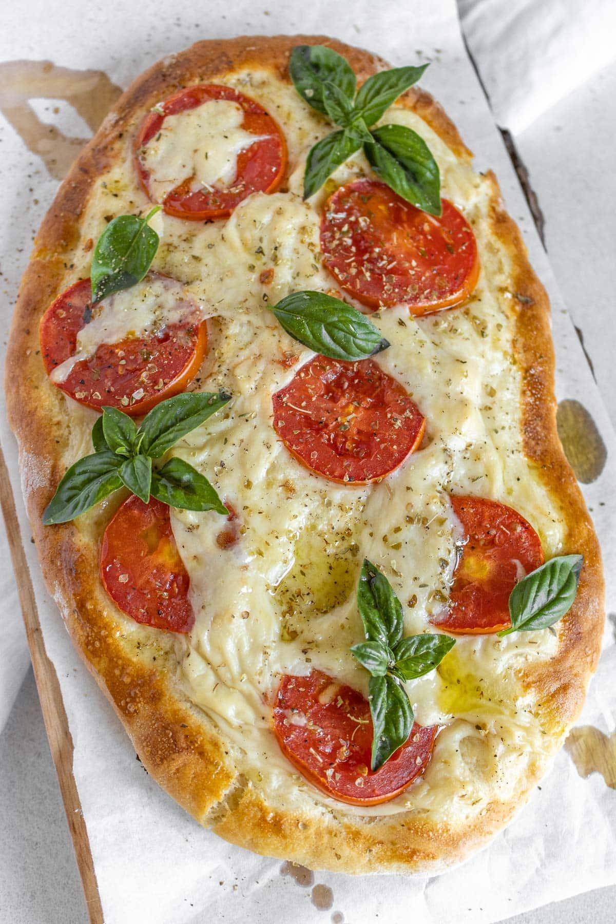 vegan stracchino cheese, tomato and basil