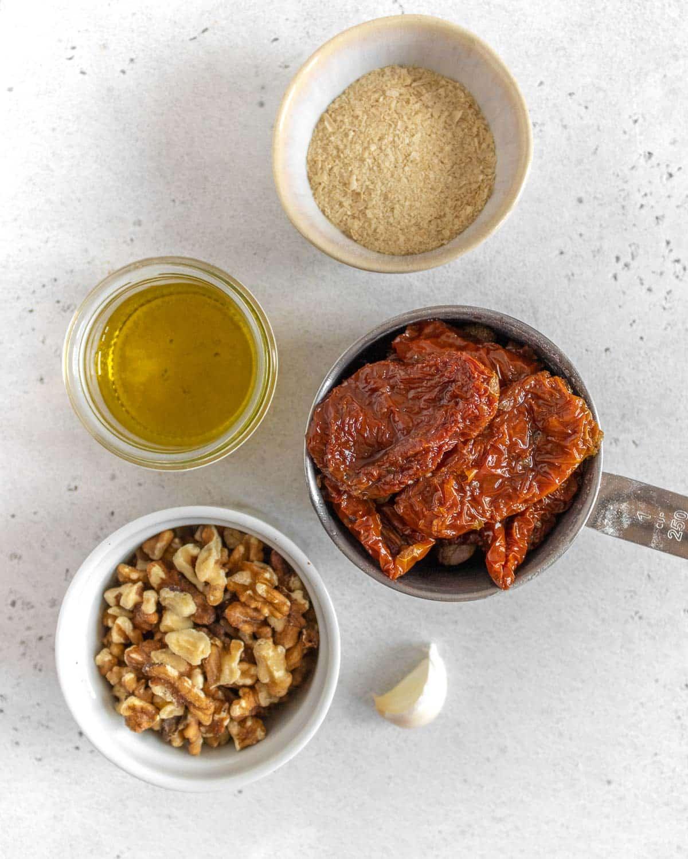 ingredients for sun-dried tomato pesto