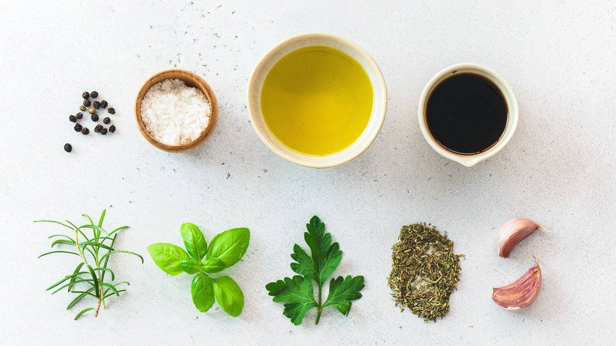 herbs, spices, and oil