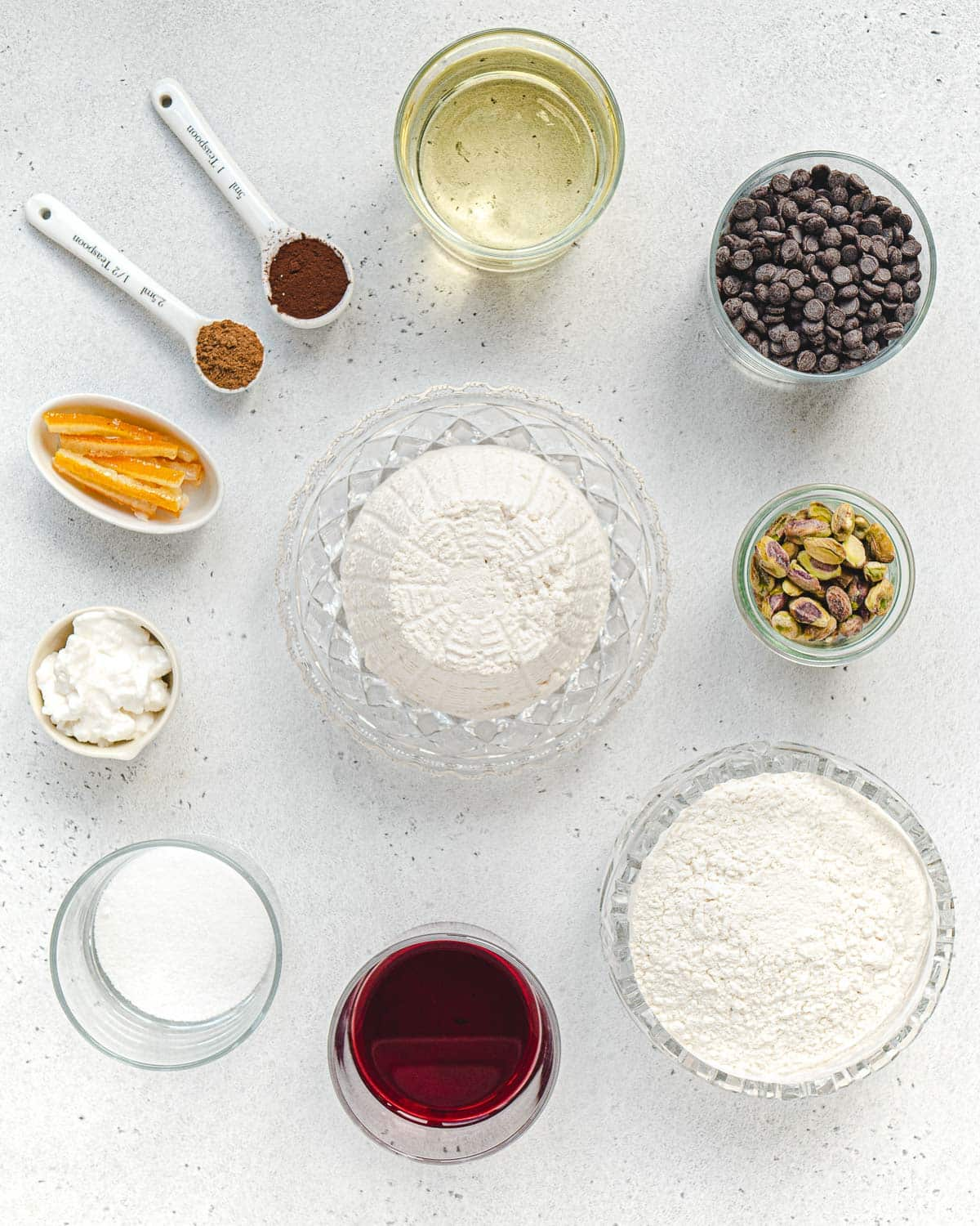 ingredients to make the shells and filling