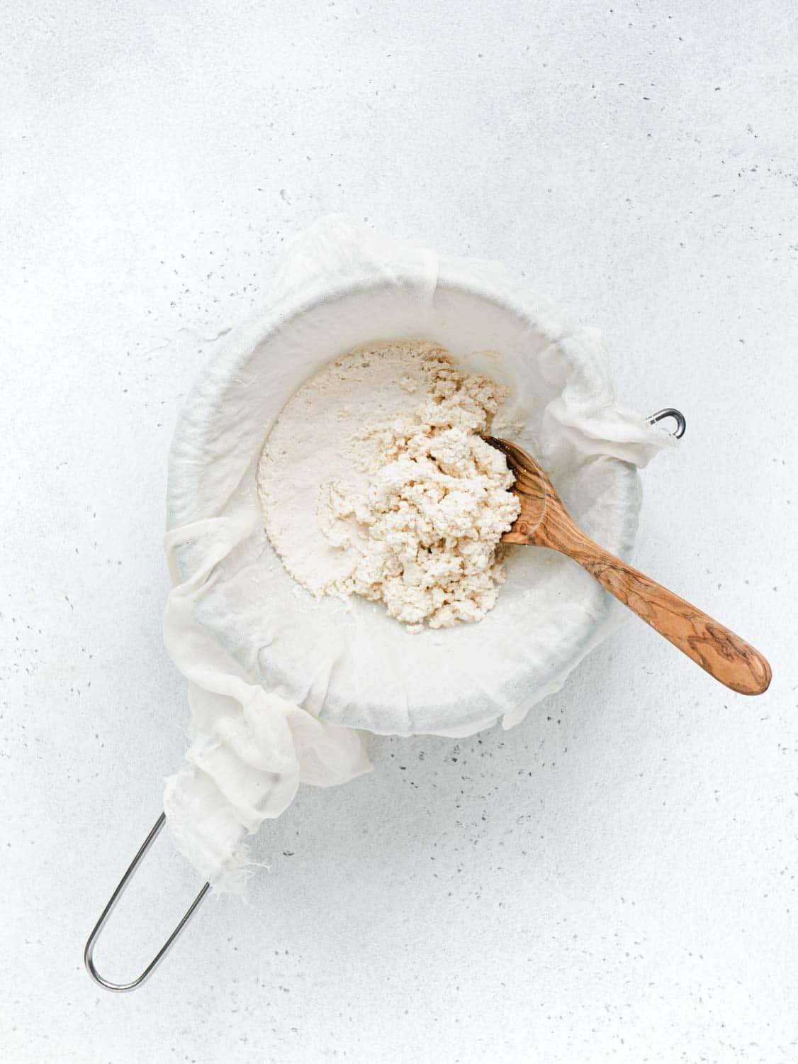 Drained homemade vegan ricotta with soy milk to use for the vegan cannoli recipe