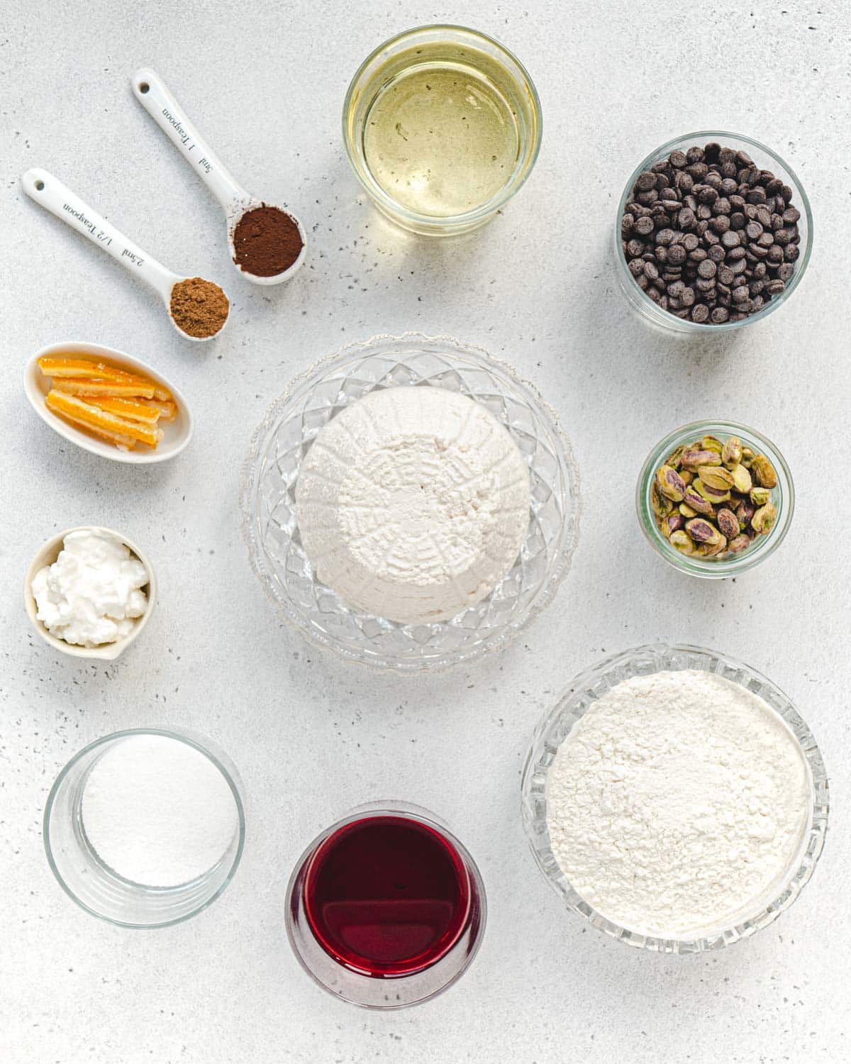 Ingredients for vegan cannoli recipe for filling , shells, and toppings