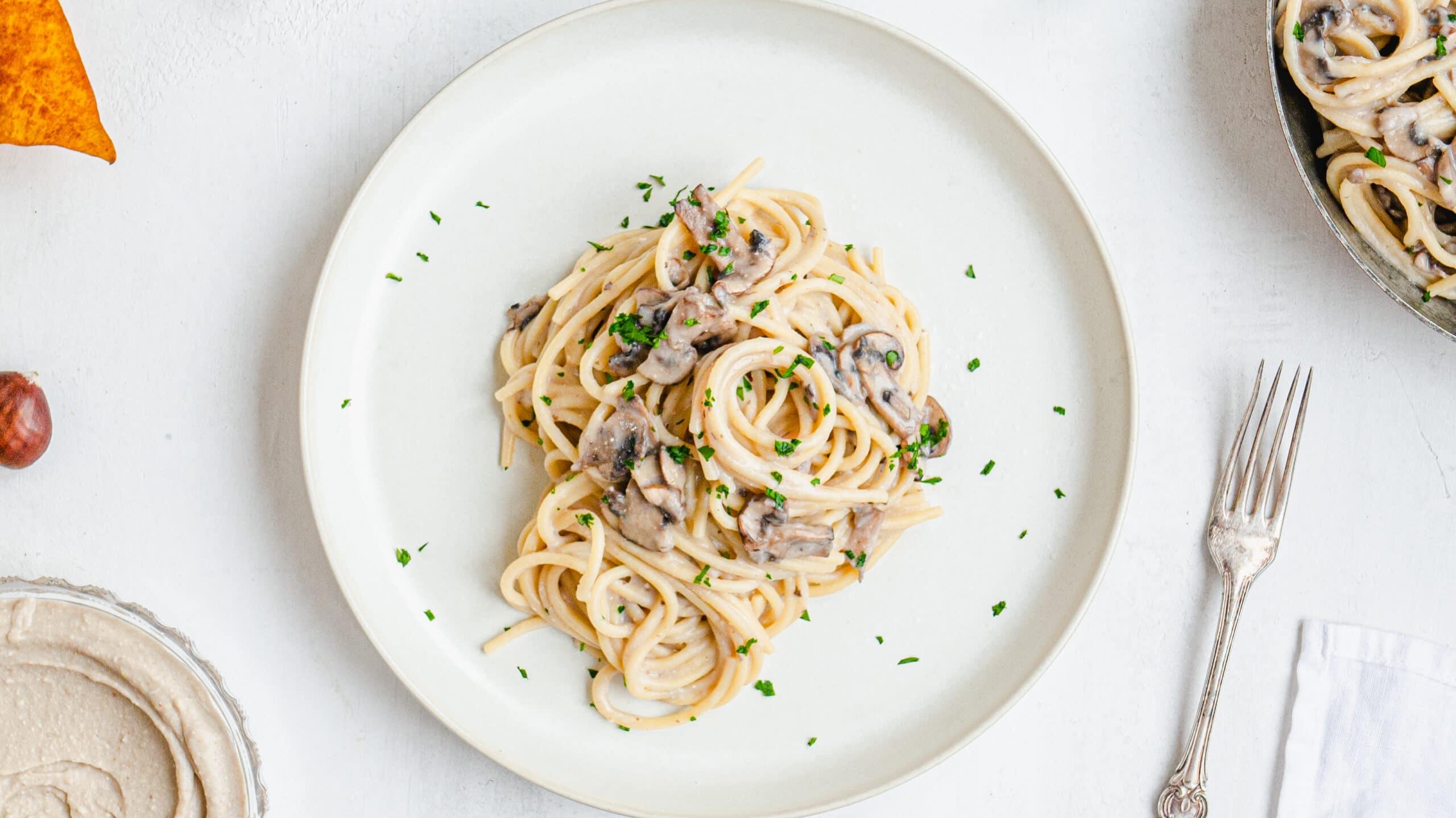 spaghetti with chestnut pesto and mushrooms