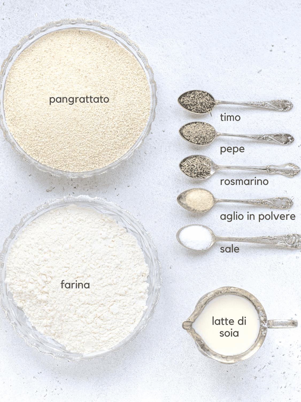 Ingredienti per la cotoletta alla milanese vegana