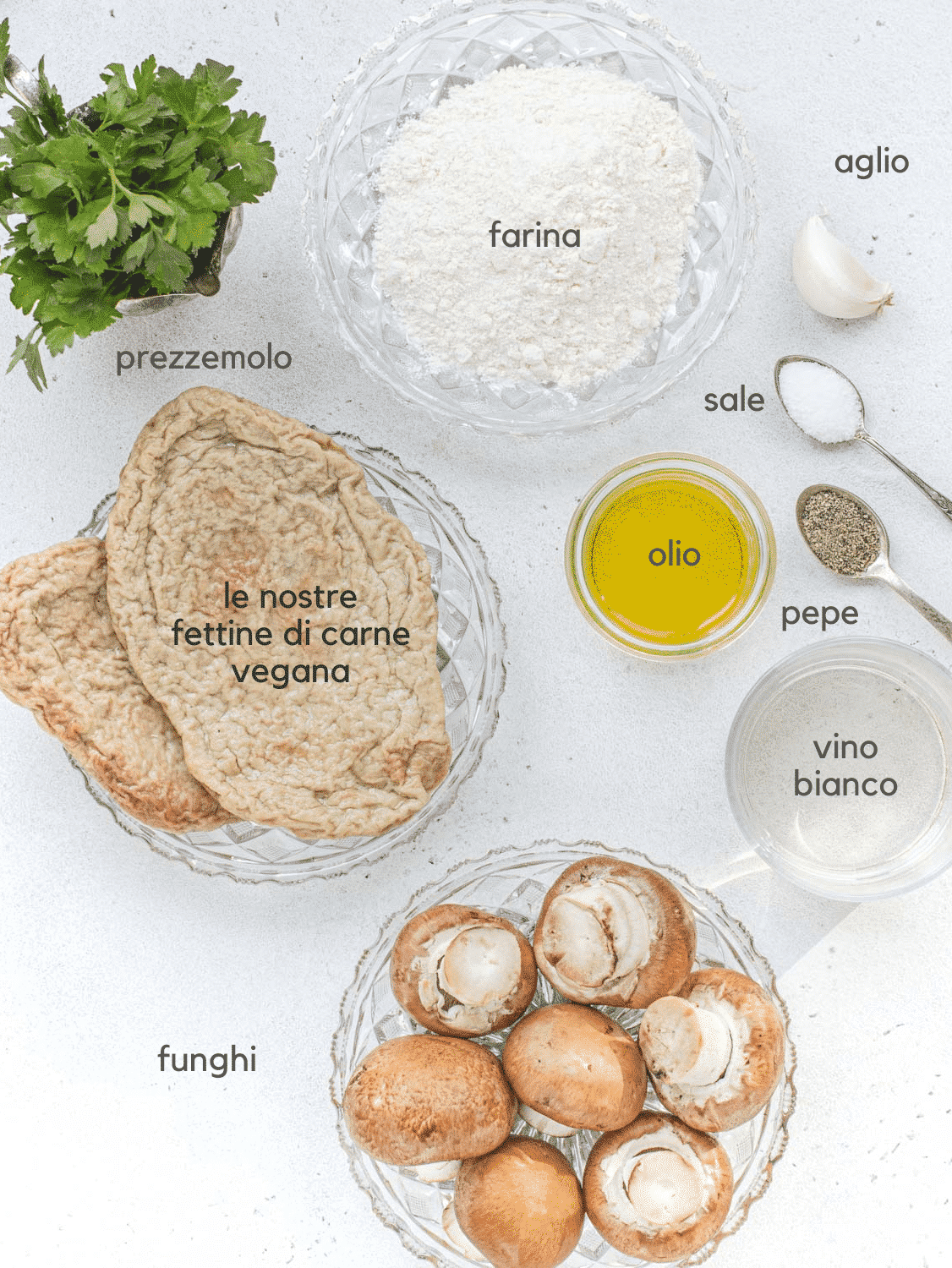 Ingredienti per le scaloppine ai funghi vegane