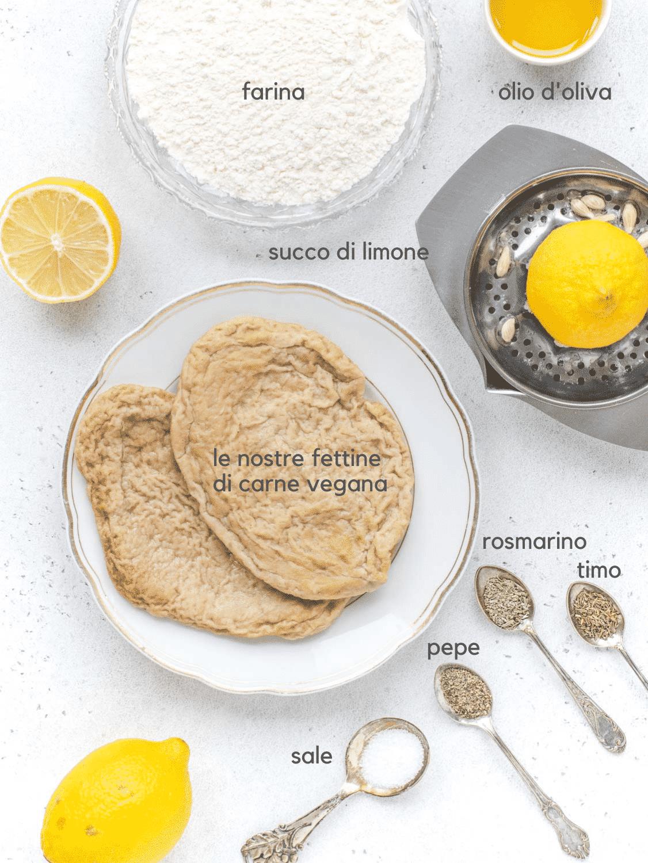 Ingredienti per le scaloppine vegane al limone