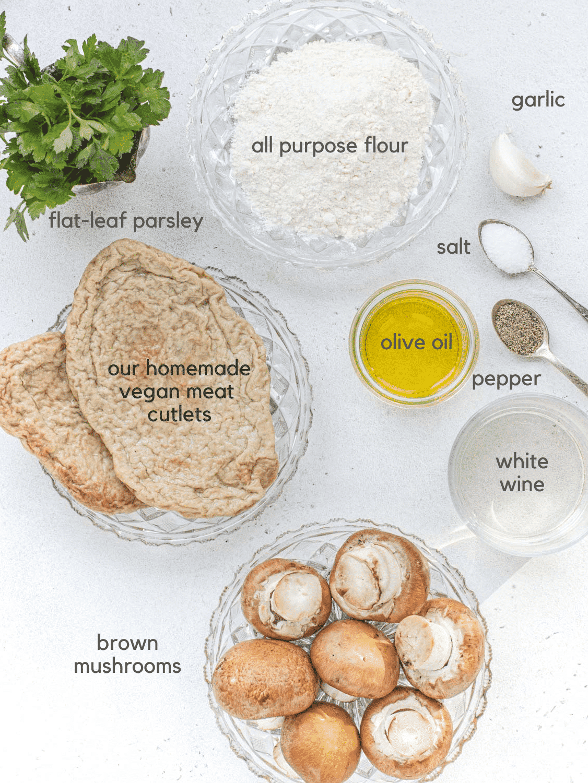 Ingredients for vegan mushroom scaloppini