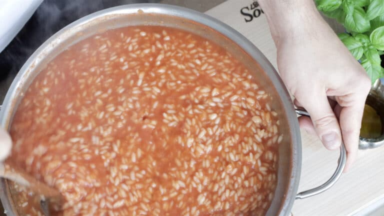 tomato sauce in the risotto