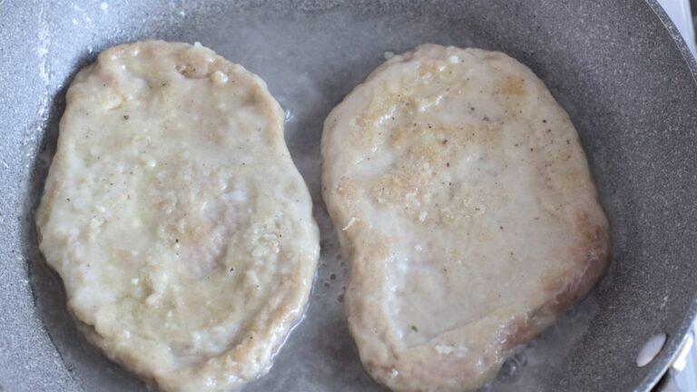 cooking the seitan steaks
