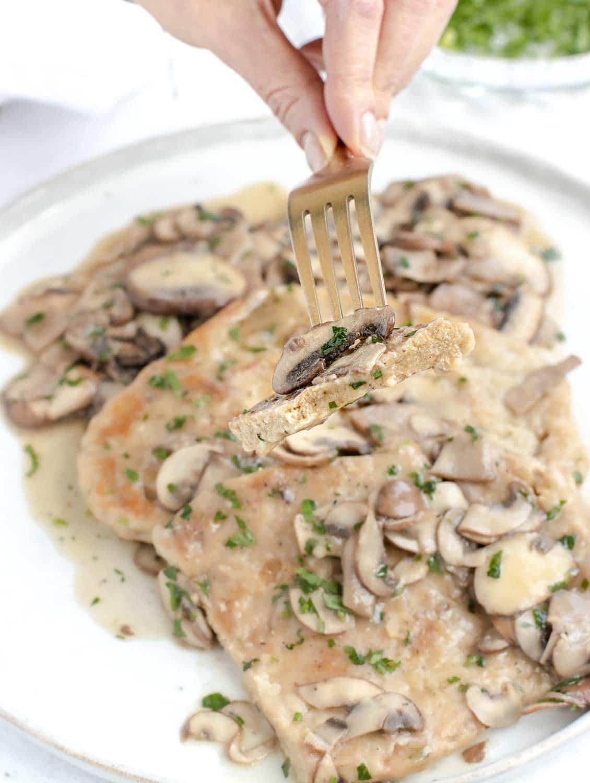 Vegan mushroom and white wine scaloppini
