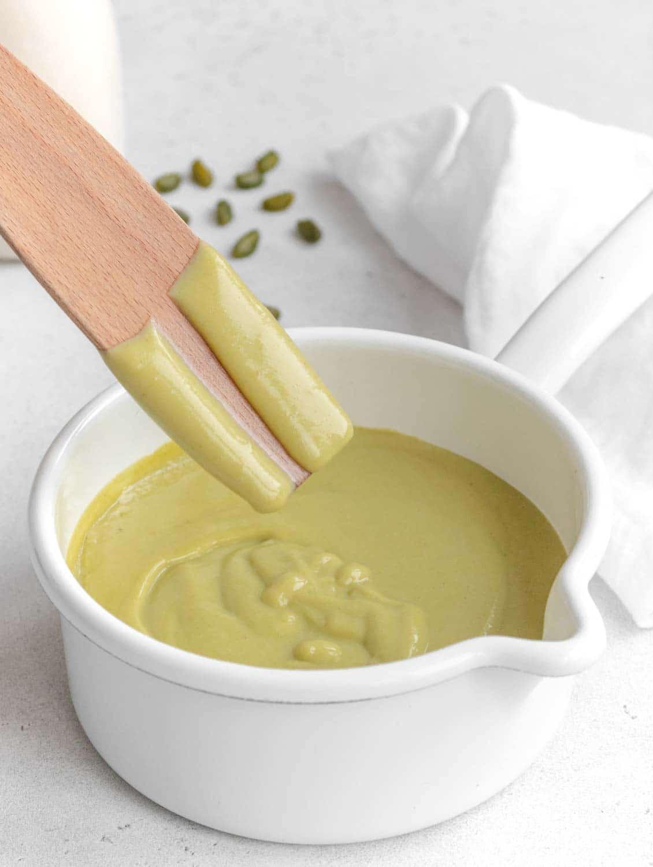 testing creaminess of pistachio custard